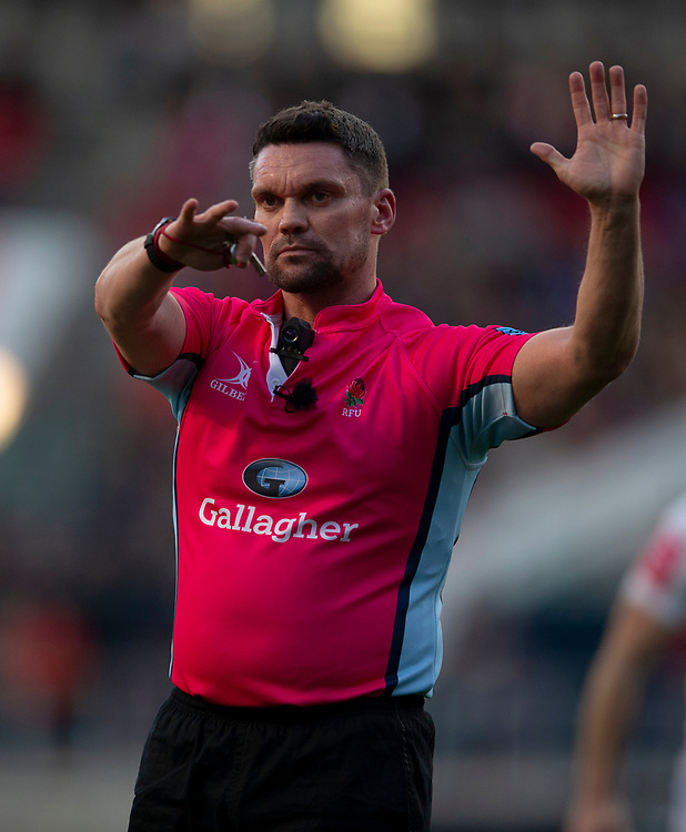 Referee Greg Macdonald<br /> <br /> Photographer Bob Bradford/CameraSport<br /> <br /> Gallagher Premiership Round 7 - Bristol Bears v Exeter Chiefs - Sunday 18th November 2018 - Ashton Gate - Bristol<br /> <br /> World Copyright © 2018 CameraSport. All rights reserved. 43 Linden Ave. Countesthorpe. Leicester. England. LE8 5PG - Tel: +44 (0) 116 277 4147 - admin@camerasport.com - www.camerasport.com