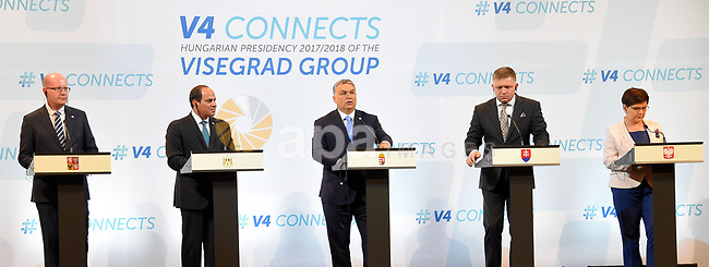Participants of a summit of the Visegrad group countries (V4) and Egypt, (L to R) Prime Minister of the Czech Republic Bohuslav Sobotka, Egyptian President Abdel Fattah al-Sisi, Hungarian Pime Minister Viktor Orban, Slovakian Prime Minister Robert Fico and Polish Prime Minister Beata Szydlo hold a joint press conference in Budapest on July 4, 2017. Photo by Egyptian President Office