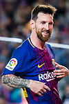 Lionel Andres Messi of FC Barcelona celebrates after scoring his goal  during the La Liga match between FC Barcelona vs RCD Espanyol at the Camp Nou on 09 September 2017 in Barcelona, Spain. Photo by Vicens Gimenez / Power Sport Images