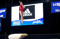 McKayla Maroney vaults during podium training at 2013 Worlds Gymnastics in Antwerp, Belgium.  2013 Worlds Artistic Gymnastics Championships