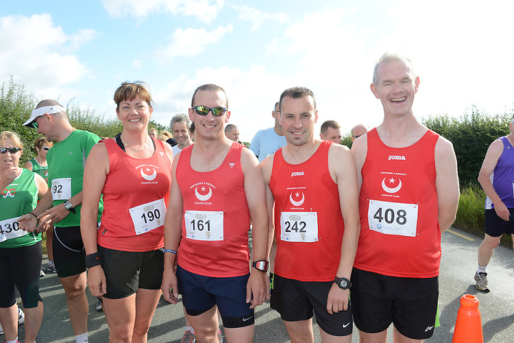 Siobhan Shortt, Hugh O'Reilly, Liam Farrell and Gerard Fay who took part in the Duleek 10K run. Photo:Colin Bell/pressphotos.ie