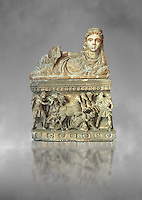 Etruscan Hellenistic style cinerary, funreary, urn , with a chariot, inv 5704,  National Archaeological Museum Florence, Italy , grey art background
