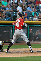 Jordan Patterson (10) of the Albuquerque Isotopes at bat against the Salt Lake Bees in Pacific Coast League action at Smith's Ballpark on August 30, 2016 in Salt Lake City, Utah. The Bees defeated the Isotopes 3-2. (Stephen Smith/Four Seam Images)