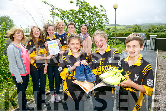 Scoil Mhuire Agus Naomh Treasa CURROW NS launch their Reader to Runner 3k fundraising run June 2nd 12noon Front l-r Aoife Fleming, Jessica O Loughlin and Cathal Sheehan Back l-r Margaret Hanifin (Principal), Tiona Brosnan, Emma Buckley, Siobhan Fleming, Coach and Trainer, Paddy Howard, Roisin Daly, Coach and Trainer
