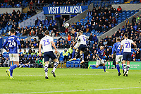 Aden Flint of Cardiff City and Tom Clarke of Preston North End battle for a header during the Sky Bet Championship match between Cardiff City and Preston North End at the Cardiff City Stadium, Wales, UK. Saturday 21 December 2019