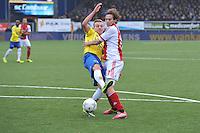 VOETBAL: CAMBUURSTADION: LEEUWARDEN: 15-12-2013, SC Cambuur AJAX, uitslag 1-2, Marcel Ritzmaier (#2) in duel met Daley Blind (#17), ©foto Martin de Jong
