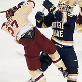 Graham McPhee (BC - 27), Mike O'Leary (Notre Dame - 19) - The Boston College Eagles defeated the University of Notre Dame Fighting Irish 6-4 (EN) on Saturday, January 28, 2017, at Kelley Rink in Conte Forum in Chestnut Hill, Massachusetts.The Boston College Eagles defeated the University of Notre Dame Fighting Irish 6-4 (EN) on Saturday, January 28, 2017, at Kelley Rink in Conte Forum in Chestnut Hill, Massachusetts.