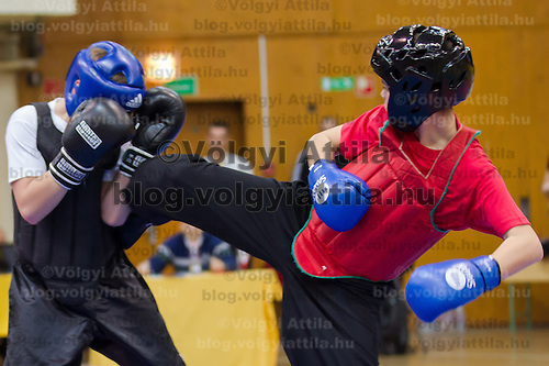 Istvan Torda (red) and Gyula Kovacs (black) fight during the 3rd International Chan Wu, Traditional Kung Fu and Wu Shu Championships in Budapest, Hungary on November 24, 2012. ATTILA VOLGYI