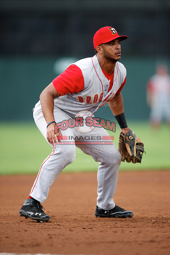 Brooklyn Cyclones third baseman Alexander Sanchez #30 during a game against the Batavia Muckdogs at Dwyer Stadium on July 25, 2012 in Batavia, New York.  Brooklyn defeated Batavia 3-2.  (Mike Janes/Four Seam Images)