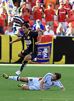 Andres Chitiva, Ned Grabavoy in the Club America @ Real Salt Lake 0-1 RSL win at Rio Tinto Stadium in Sandy, Utah on July 11, 2009
