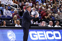 GREENSBORO, NC - MARCH 07: Head coach Wes Moore of North Carolina State University during a game between Boston College and NC State at Greensboro Coliseum on March 07, 2020 in Greensboro, North Carolina.