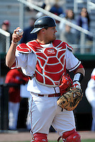 St.John's Red Storm catcher Joe Witkowski (9)  during a game against the Louisville Cardinals at Jack Kaiser Stadium in Queens, New York;  April 15, 2011.  St. John's defeated Louisville 8-2.  Photo By Tomasso DeRosa/Four Seam Images