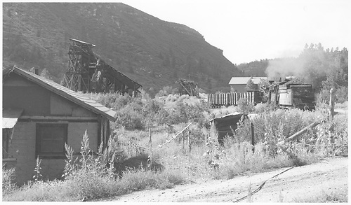 Tender-end fireman's-side view of RGS #42 picking up stray gondolas at the Triangle Mine above Franklin Junction.<br /> RGS  Franklin Junction, CO  Taken by Richardson, Robert W. - 9/10/1952