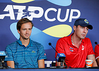 2nd January 2020; RAC Arena , Perth, Western Australia, Australia; ATP Cup Team Press conferences, Spain; Daniel Medvedev and team Captain Marat Safin at the team press conferences - Editorial Use