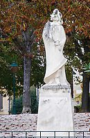The old stone statue of Cyrano de Bergerac on a square in Bergerac. on Place de la Myrpe, facing Place du Docteur Cayla Square Bergerac Dordogne France