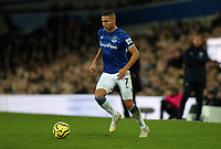 11th January 2020; Goodison Park, Liverpool, Merseyside, England; English Premier League Football, Everton versus Brighton and Hove Albion; Richarlison of Everton runs forward with ball - Strictly Editorial Use Only. No use with unauthorized audio, video, data, fixture lists, club/league logos or 'live' services. Online in-match use limited to 120 images, no video emulation. No use in betting, games or single club/league/player publications