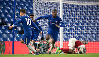 Marc Guehi of Chelsea U18 celebrates his goal during the FA Youth Cup FINAL 1st leg match between Chelsea U18 and Arsenal U18 at Stamford Bridge, London, England on 27 April 2018. Photo by Andy Rowland.