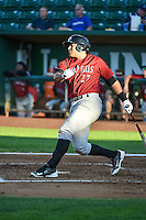 Joshua Banuelos (27) of the Idaho Falls Chukars at bat against the Ogden Raptors in Pioneer League action at Lindquist Field on August 27, 2015 in Ogden, Utah. Ogden defeated the Chukars 4-3.  (Stephen Smith/Four Seam Images)