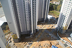 Gangneung Olympic Village, Oct 30, 2017 : Gangneung Olympic Village, the athletes' village of the 2018 PyeongChang Winter Olympics is seen under construction in Gangneung, east of Seoul, South Korea. The 23rd Winter Olympics will be held for 17 days from February 9 - 25, 2018. The opening and closing ceremonies and most snow sports will take place in PyeongChang county. Jeongseon county will host Alpine speed events and ice sports will be held in the coast city of Gangneung. (Photo by Lee Jae-Won/AFLO) (SOUTH KOREA)