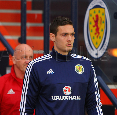 29.03.2016. Hampden Park, Glasgow, Scotland. International Football Friendly Scotland versus Denmark. Craig Gordon walks out for the warm up