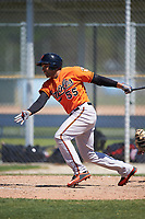 Baltimore Orioles Jamill Moquete (55) follows through on a swing during a minor league Spring Training game against the Minnesota Twins on March 17, 2017 at the Buck O'Neil Baseball Complex in Sarasota, Florida.  (Mike Janes/Four Seam Images)