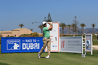 Trevor Fisher Jnr (RSA) on the 1st tee during Round 3 of the Rocco Forte Sicilian Open 2018 played at Verdura Resort, Agrigento, Sicily, Italy on Saturday 12th May 2018.<br /> Picture:  Thos Caffrey / www.golffile.ie<br /> <br /> All photo usage must carry mandatory copyright credit (&copy; Golffile   Thos Caffrey)