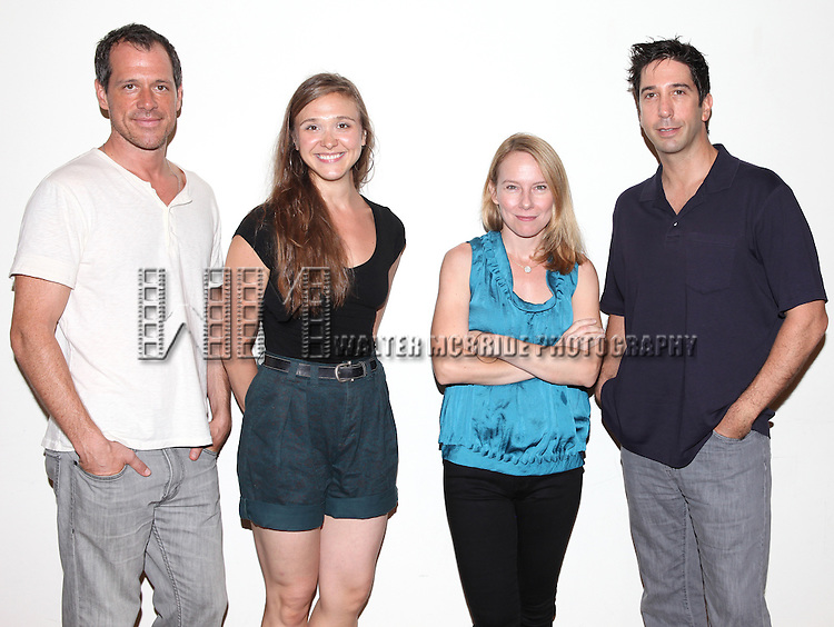Darren Pettie, Sarah Sokolovic, Amy Ryan and David Schwimmer.attending the first day of rehearsals for the Playwrights Horizon Production of 'Detroit' at their rehearsal studios in New York on 7/27/12