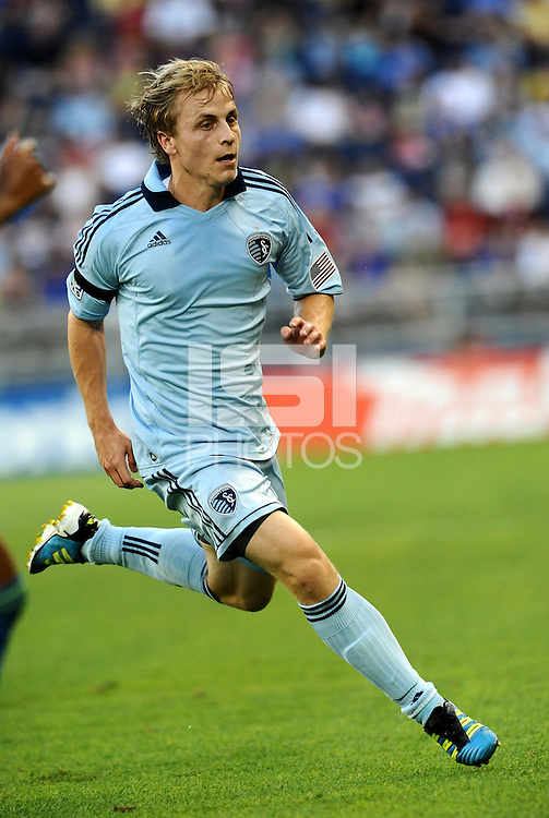 Seth Sinovic (16) defender Sporting KC in action... Sporting Kansas City were defeated 1-2 by Seattle Sounders at LIVESTRONG Sporting Park, Kansas City, Kansas.