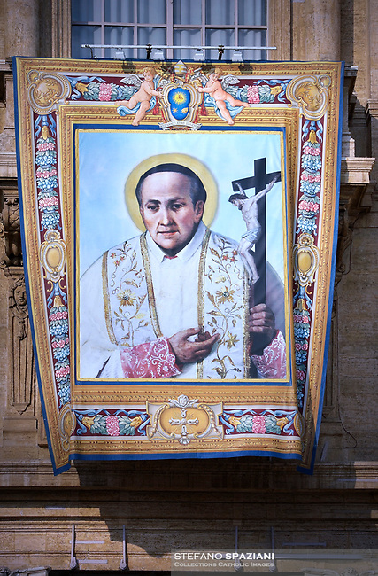Portraits of  Vincenzo Romano. Pope Francis presides over a canonization ceremony in St Peter's Square at the Vatican, on October 14, 2018. Pope Francis canonizes two of the most important and figures of the 20th-century Catholic Church, declaring Pope Paul VI and the martyred Salvadoran Archbishop Oscar Romero.