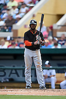 Miami Marlins infielder Jordany Valdespin (1) during a Spring Training game against the Detroit Tigers on March 25, 2015 at Joker Marchant Stadium in Lakeland, Florida.  Detroit defeated Miami 8-4.  (Mike Janes/Four Seam Images)
