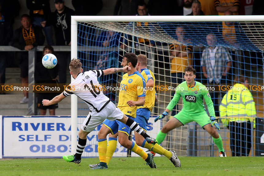 Maidstone's Bobby-Joe Taylor curls the ball just wide of the Torquay goal during Torquay United vs Maidstone United , Vanarama National League Football at Plainmoor on 24th September 2016