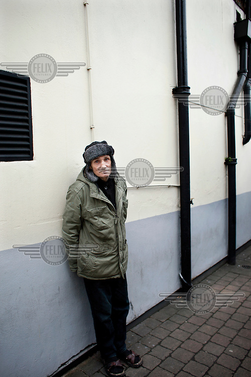 A portrait of 61 year old Michael Fagan in North London. Fagan was the intruder who broke into Buckingham Palace in 1982 and managed to get inside the Queen's bedroom.