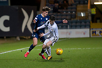 3rd March 2020; Dens Park, Dundee, Scotland; Scottish Championship Football, Dundee FC versus Alloa Athletic; Oliver Crankshaw of Dundee challenges for the ball with Kevin Cawley of Alloa Athletic