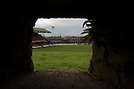 Glentoran 2 Cliftonville 1, 22/10/2016. The Oval, NIFL Premiership. The view out from the World War II bunker situated on the hill at the home end at The Oval, Belfast, pictured before Glentoran hosted city-rivals Cliftonville in an NIFL Premiership match. Glentoran, formed in 1892, have been based at The Oval since their formation and are historically one of Northern Ireland's 'big two' football clubs. They had an unprecendentally bad start to the 2016-17 league campaign, but came from behind to win this fixture 2-1, watched by a crowd of 1872. Photo by Colin McPherson.