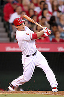 Los Angeles Angels outfielder Mike Trout #27 bats against the Baltimore Orioles at Angel Stadium on August 20, 2011 in Anaheim,California. Los Angeles defeated Baltimore 9-8.(Larry Goren/Four Seam Images)