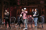 Eliza Ohman, Sasha Hollinger, Jordan Fisher and Stephanie Klemons from 'Hamilton' greet High School students from The Rockefeller Foundation, and The Gilder Lehrman Institute of American History before a 'Hamilton' matinee performance at the Richard Rodgers Theatre on 11/30/2016 in New York City.