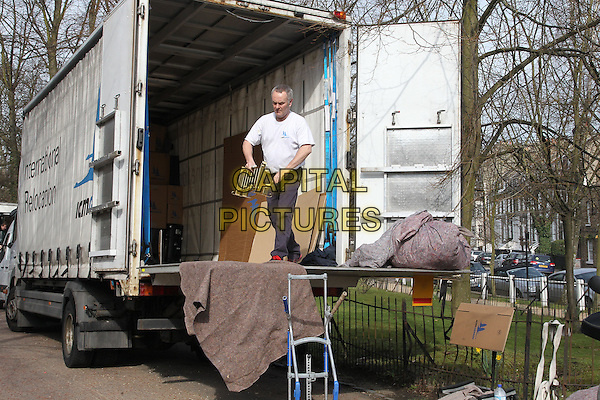 Furniture being moved into Kate Moss' new home, London, England..March 14th, 2012.full length gv general view road street truck van boxes moving.CAP/HIL.©John Hillcoat/Capital Pictures .