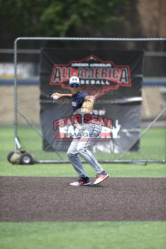 TEMPORARY UNEDITED FILE:  Image may appear lighter/darker than final edit - all images cropped to best fit print size.  <br /> <br /> Under Armour All-American Game presented by Baseball Factory on July 19, 2018 at Les Miller Field at Curtis Granderson Stadium in Chicago, Illinois.  (Mike Janes/Four Seam Images) Cesar Valero is an infielder from Foothills Composite High School in Calgary, AB, Canada committed to Oregon State.
