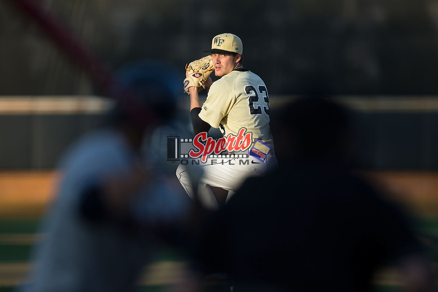 Wake Forest Demon Deacons starting pitcher Andrew Loepprich (23) delivers a pitch to the plate against the UConn Huskies at Wake Forest Baseball Park on March 17, 2015 in Winston-Salem, North Carolina.  The Demon Deacons defeated the Huskies 6-2.  (Brian Westerholt/Sports On Film)