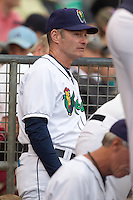 Cedar Rapids Kernels roving instructor Paul Molitor #4 looks on during a game against the Kane County Cougars at Veterans Memorial Stadium on June 8, 2013 in Cedar Rapids, Iowa. (Brace Hemmelgarn/Four Seam Images)