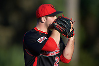 Illinois State Redbirds relief pitcher Mitch Vogrin (20) looks in for the sign during a game against the Indiana Hoosiers on March 4, 2016 at North Charlotte Regional Park in Port Charlotte, Florida.  Indiana defeated Illinois State 14-1.  (Mike Janes/Four Seam Images)