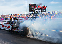 Oct 27, 2018; Las Vegas, NV, USA; NHRA top fuel driver Steve Torrence during qualifying for the Toyota Nationals at The Strip at Las Vegas Motor Speedway. Mandatory Credit: Mark J. Rebilas-USA TODAY Sports