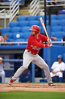 Palm Beach Cardinals outfielder Derek Gibson (39) at bat during the first game of a doubleheader against the Dunedin Blue Jays on July 31, 2015 at Florida Auto Exchange Stadium in Dunedin, Florida.  Dunedin defeated Palm Beach 7-0.  (Mike Janes/Four Seam Images)