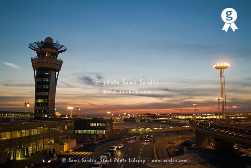 Flight Control tower of Orly Airport (sunset) (Licence this image exclusively with Getty: http://www.gettyimages.com/detail/85071284 )