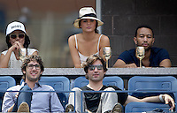 September 2, 2012: Model Chrissy Teigen (top C), singer John Legend (top R), and singer Josh Groban (bottom L) visit the Moet & Chandon Suite during Day 7 of the 2012 U.S. Open Tennis Championships at the USTA Billie Jean King National Tennis Center in Flushing, Queens, New York, USA. Credit: mpi105/MediaPunch Inc. /NortePhoto.com<br />