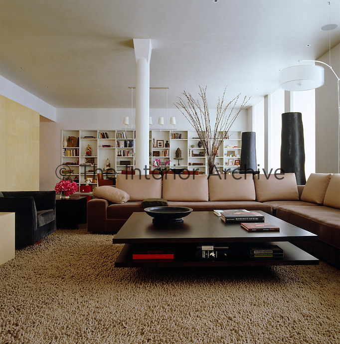 A low hardwood coffee table forms the centrepiece of the sitting area with the dining area beyond