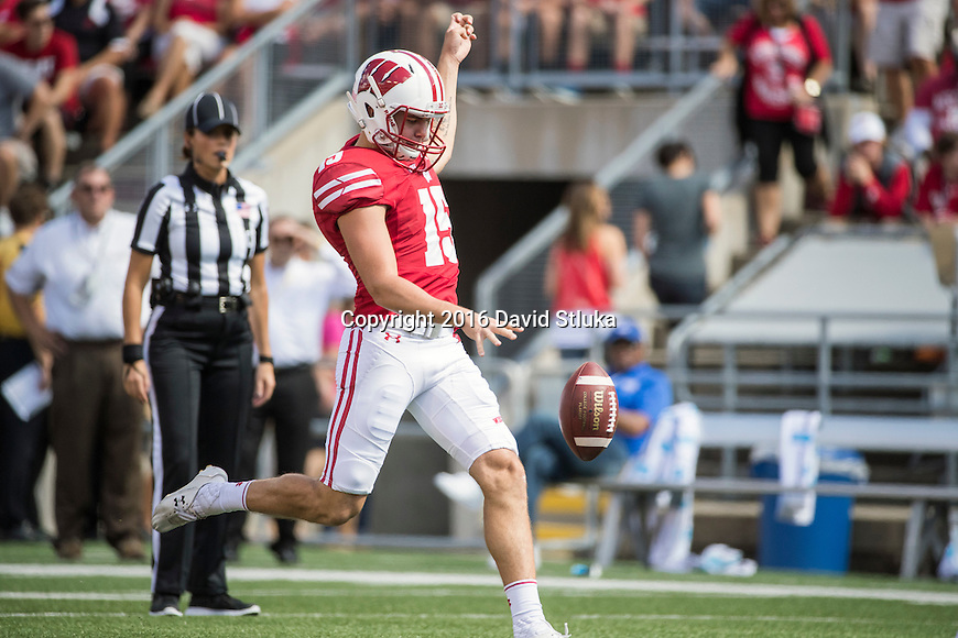 Wisconsin Badgers punter Anthony Lotti (15) punts the ball during an NCAA college football game against the Georgia State Panthers Saturday, September 17, 2016, in Madison, Wis. The Badgers won 23-17. (Photo by David Stluka)