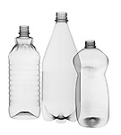 X-ray image of three plastic bottles (black on white) by Jim Wehtje, specialist in x-ray art and design images.