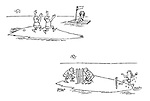 (People on desert island playing cricket with the parts of a raft)