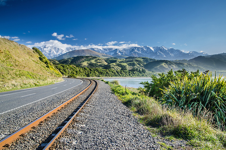 Road and Railway Line at Mangamaunu Bay, near Kaikoura, South Island, New Zealand